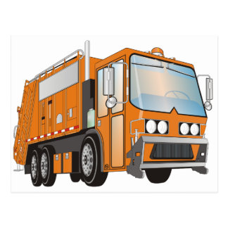 3d Garbage Truck Orange Postcard