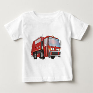 3d Garbage Truck Red Baby T-Shirt