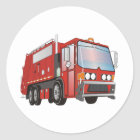 3d Garbage Truck Red Classic Round Sticker