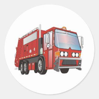 3d Garbage Truck Red Classic Round Sticker