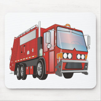 3d Garbage Truck Red Mouse Pad