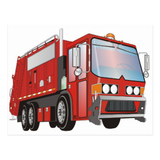 3d Garbage Truck Red Postcard