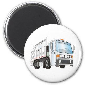 3d Garbage Truck White 2 Inch Round Magnet