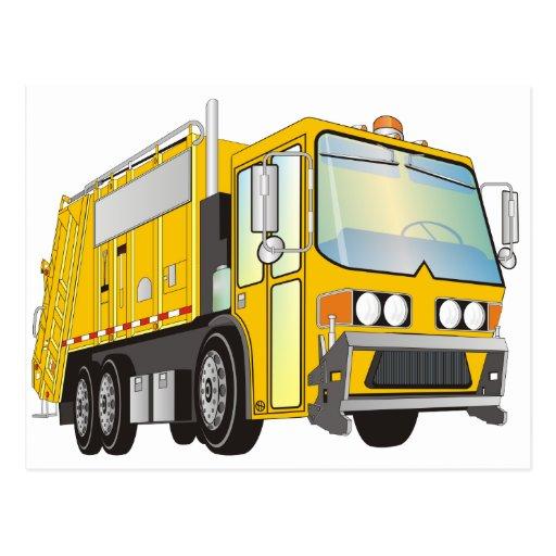 3d Garbage Truck Yellow Postcard   Zazzle