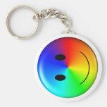 3D Gay Pride Smiley Basic Round Button Keychain