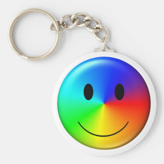 3D Gay Pride Smiley Keychain