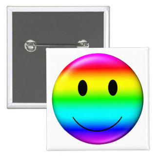 3D Gay Pride Smiley Pinback Button