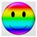 3D Gay Pride Smiley Poster