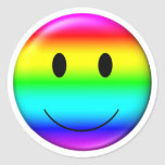 3D Gay Pride Smiley Round Stickers