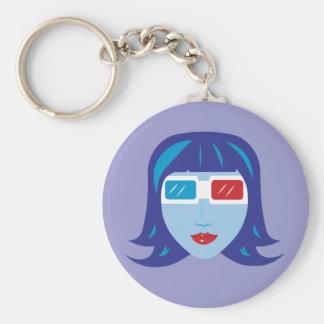 3D Girl Basic Round Button Keychain
