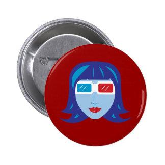 3D Girl Pinback Button