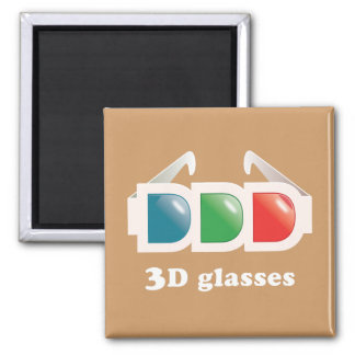 3D Glasses 2 Inch Square Magnet