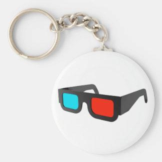 3D Glasses in Black & White Basic Round Button Keychain