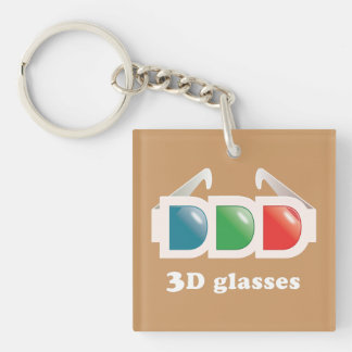 3D Glasses Single-Sided Square Acrylic Keychain