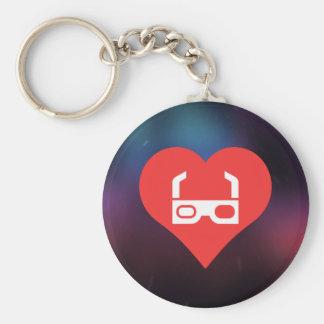 3d Glasses Pictogram Basic Round Button Keychain