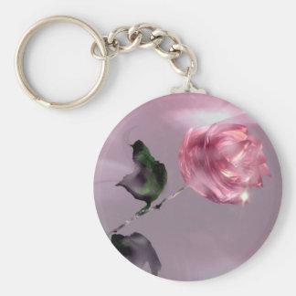 3D Glistening Rose Basic Round Button Keychain