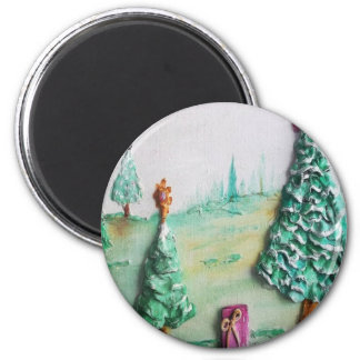 3D GLITTER L K of Christmas Trees and Gifts Fridge Magnet