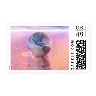 3D Globe 12 Stamp
