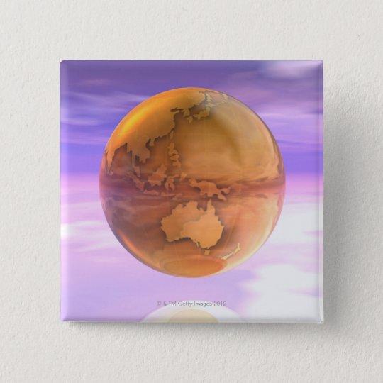 3D Globe 14 Pinback Button