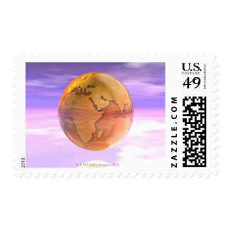 3D Globe 2 Postage Stamps
