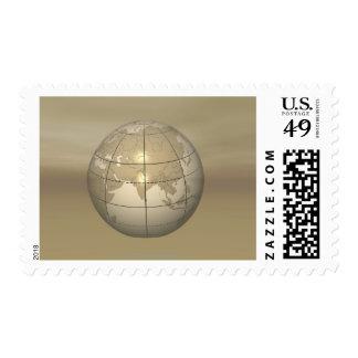 3D Globe Postage Stamp