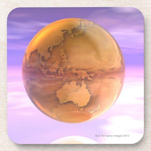 3D globo 14 Posavasos De Bebidas