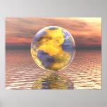 3D globo 19 Póster