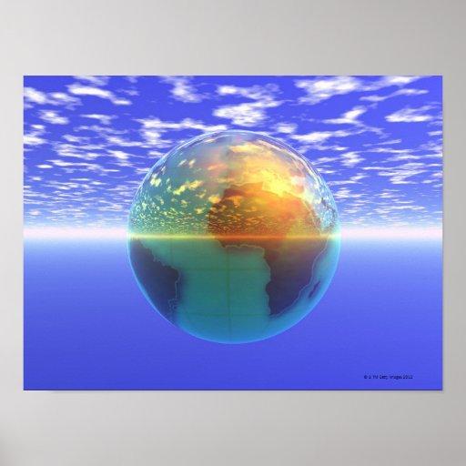3D globo 9 Posters