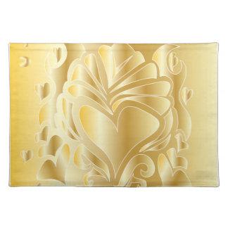 3D GOLD ANNIVERSARY CELEBRATION ROMANTIC PLACEMAT CLOTH PLACEMAT