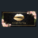 """3D Gold Lips Beauty Salon Floral Gift Certificate<br><div class=""""desc"""">================= ABOUT THIS DESIGN ================= 3D Gold Lips Beauty Salon Floral Gift Certificate Card. (1) For further customization, please click the &quot;Customize it&quot; button and use our design tool to modify this template. All text style, colors, sizes can be modified to fit your needs. (2) If you need help or...</div>"""