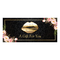 3D Gold Lips Beauty Salon Floral Gift Certificate