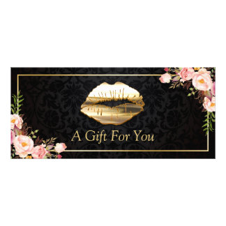3D Gold Lips Beauty Salon Floral Gift Certificate