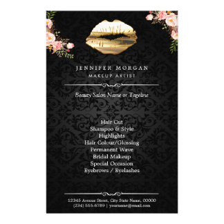 3D Gold Lips Floral Makeup Artist Beauty Salon Flyer