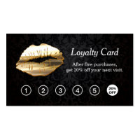 3D Gold Lips Makeup Salon Loyalty Punch Card