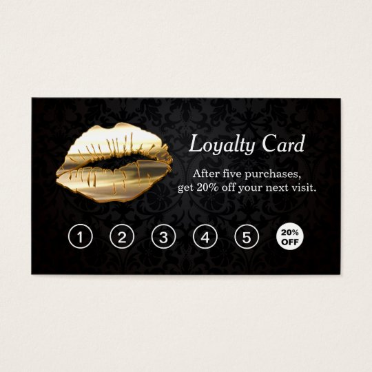 3d gold lips makeup salon loyalty punch card zazzlecom