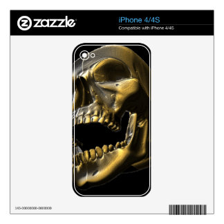 3D Gold Open Mouth Skull Iphone 4 Skin