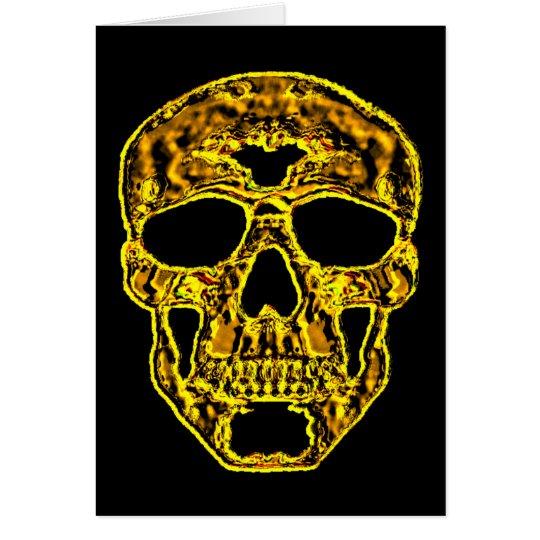 3D Gold Skull Card