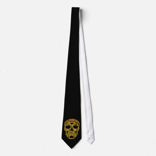 3D Gold Skull Tie