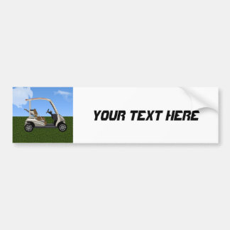 3D Golf Cart on Grass Bumper Sticker