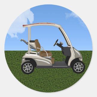 3D Golf Cart on Grass Classic Round Sticker