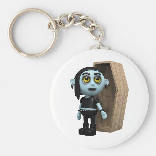 3d-goth-coffin basic round button keychain