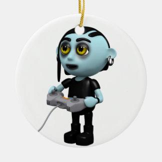 3d Goth Video Gamer Ceramic Ornament