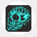 3D gothic skull Round Sticker