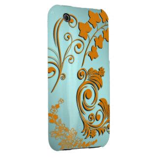 3D Gradient Teal Blue Tan Orange Floral Swirls iPhone 3 Case-Mate Cases