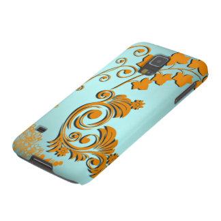 3D Gradient Teal Blue Tan Orange Floral Swirls Case For Galaxy S5