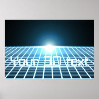 3D-Grid que brilla intensamente con el texto adapt Póster
