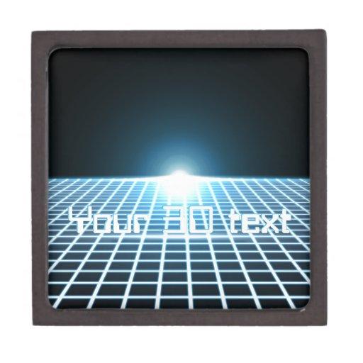 3D-Grid que brilla intensamente con el texto Cajas De Recuerdo De Calidad