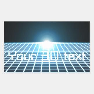 3D-Grid que brilla intensamente con el texto Pegatina Rectangular