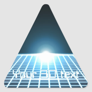 3D-Grid que brilla intensamente con el texto Pegatina Triangular