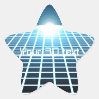 3D-Grid que brilla intensamente con el texto Pegatina En Forma De Estrella